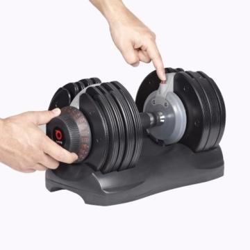 DialTech Hantelsystem - Einstellbare Hantel von 5 bis 32,5 KG im Set mit Ständer -