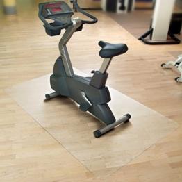 Floordirekt SPORT Bodenmatte / Unterlegmatte für Heimtrainer, Ergometer, Crosstrainer und andere Fitnessgeräte - transparent - 75x120cm -