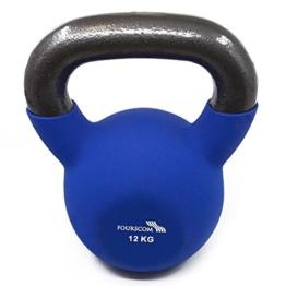 FOURSCOM® Kettlebells 12kg Blau Einsen mit Neoprene&Vinyl Kugelhantel Handgewicht Schwungkugel -