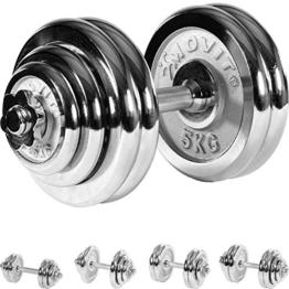 MOVIT® 30 kg Chrom Profi Kurzhantel Set, Gusseisen, Hantel -