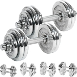 MOVIT® Chrom Gusseisen Kurzhantel 2er Set, Varianten 30kg, 40kg, 50kg, 60kg, gerändelt mit Sternverschlüssen -