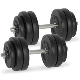 Physionics Kurzhantel Set Gewichte Hanteln 30 kg (2 x 15 kg) inkl. Hantelscheiben und Hantel Sternverschlüsse Massiv-Stahl -
