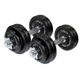 POWRX Gusseisen Kurzhantel 2er Set, Varianten 20kg, 30kg, 40kg, 50kg, 60kg, gerändelt mit Sternverschlüssen (2 x 17,5 kg) -