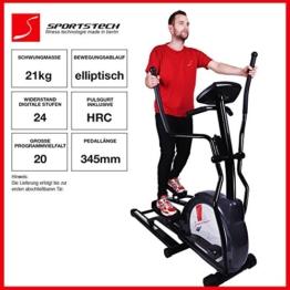 Sportstech CX630 Profi Crosstrainer Elliptical mit elliptischem Bewegungsablauf, Schwungmasse 21 KG, 4x HRC - 20 Trainingsprogramme - 24 Widerstand Stufen - Heimtrainer Ergometer Ellipsentrainer Stepper -