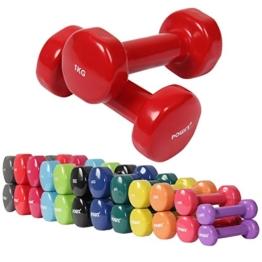 Vinyl Hantel Paar Ideal für Gymnastik Aerobic Pilates 0,5 kg - 10 kg   Kurzhantel Set in versch. Farben (2 x 1 kg) -