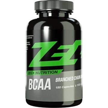 ZEC+ BCAA Kapseln | essentielle Aminosäuren | BCAAs - verzweigtkettige Aminosäuren | L-Leucin, L-Valin, L-Isoleucin im Verhältnis 2:1:1, hochdosiert | 1000 mg pro Kapsel | ideal für Muskelaufbau und Regeneration | 180 Kapseln -