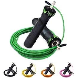 ZenRope - Springseil - Speed-Rope mit Kugellagern und rutschfestem Grip-Band   mit Extra-Stahlseil, Tasche und Einstiegsguide + lebenslange 100%-Geld-zurück-Garantie (Grün) -